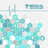 Medical health care - pulse wave and Hexagon icon About Doctors Royalty Free Stock Photography