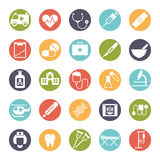 Medical and Health Care Round Icon Set. Collection of 25 medical and healthcare related glyph icons in colored circles Royalty Free Stock Image