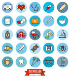 Medical and Health Care Round Vector Icon Set. Collection of 25 medical and healthcare related filled line icons in blue circles Royalty Free Stock Photos