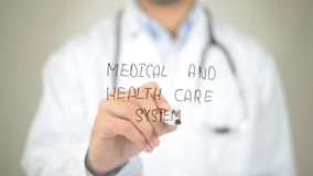 Medical and Health Care System, Doctor writing on transparent screen Royalty Free Stock Image
