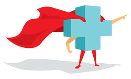 Medical health cross super hero with cape bravely pointing forwa Royalty Free Stock Photo