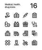 Medical, health, drug icons for web and mobile design pack 1. 16 line black and white vector icons Royalty Free Illustration
