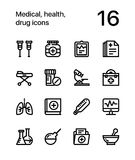 Medical, health, drug icons for web and mobile design pack 2. 16 line black and white vector icons stock illustration