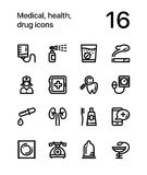 Medical, health, drug icons for web and mobile design pack 3. 16 line black and white vector icons Stock Illustration