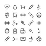 Medical, Health and Fitness Line Vector Icons 1. This Medical and Health Vector Icons Pack is filled with emergency and health related s that will prove to be so Stock Photography