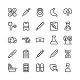 Medical, Health and Fitness Line Vector Icons 10 Royalty Free Stock Image