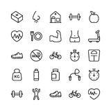 Medical, Health and Fitness Line Vector Icons 16 Royalty Free Stock Images