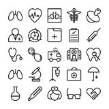Medical, Health and Hospital Line Vector Icons 1 Stock Image