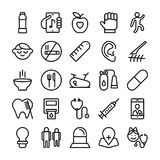 Medical, Health and Hospital Line Vector Icons 7 Royalty Free Stock Image