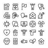 Medical, Health and Hospital Line Vector Icons 12 Stock Images