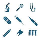Medical and health icons set. Nine icons. Stock Photography