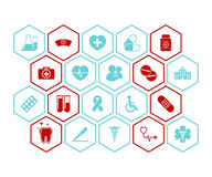 Medical and health icons vector background - Red and blue colors. Medical and health icons vector background red and blue Stock Image