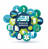 Medical and health vector illustration. Set of flat medical icon Stock Images