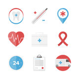 Medical and healthcare assistance flat icons set. Flat icons set of first aid kit and medical support service, clinical records, healthcare objects and dental Royalty Free Stock Photo