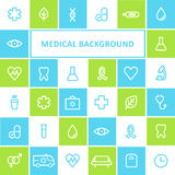 Medical and Healthcare Background. Lined Icons Design Royalty Free Stock Image