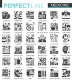 Medical and healthcare black mini concept icons and infographic symbols set Royalty Free Stock Photos