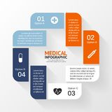 Medical healthcare circle plus sign infographic. Stock Photo
