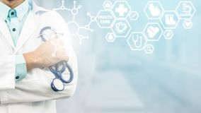 Doctor with Medical Healthcare Icon Interface royalty free stock photography