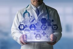 Doctor with Medical Healthcare Icon Interface royalty free stock photo