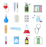 Medical Healthcare Equipment Icon Set. Vector Stock Image