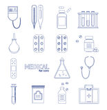 Medical Healthcare Equipment Thin Line Icon Set. Vector Royalty Free Stock Image
