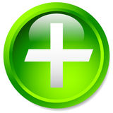Medical, healthcare, first-aid plus, cross icon. Glossy circle b Stock Image