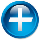 Medical, healthcare, first-aid plus, cross icon. Glossy circle b Royalty Free Stock Photography