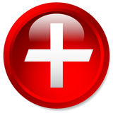 Medical, healthcare, first-aid plus, cross icon. Glossy circle b. Utton with cross. - Royalty free vector illustration Stock Photos
