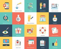 Medical and Healthcare Flat Icons. These are medical and health flat icons. There is a wide range of icons belonging to the very theme of medicine, hospital Stock Photo