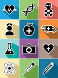Medical healthcare flat icons set design Royalty Free Stock Images