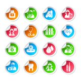 Medical healthcare icon stickers Royalty Free Stock Images