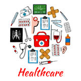 Medical and healthcare icons arranged into circle Stock Photo