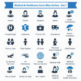 Medical & Healthcare Icons Blue Series - Set 1. Beautiful, meticulously designed Medical & Healthcare Icons. Perfect for use in designing and developing websites Royalty Free Stock Images
