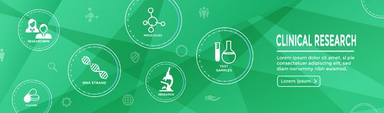 Medical Healthcare Icons with People Charting Disease / Scientific Discovery Web Header Banner. Medical Healthcare Icons w People Charting Disease or Scientific royalty free illustration