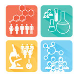 Medical Healthcare Icons with People Charting Disease or Scientific Discovery Royalty Free Stock Image