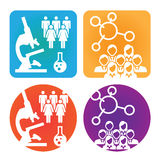 Medical Healthcare Icons. With People Researching Scientific Discovery Stock Images