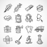 Medical And Healthcare Icons. Medical and healthcare pharmacy and hospital icons sketch set isolated vector illustration Stock Images