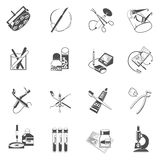 Medical healthcare icons set black Royalty Free Stock Photo