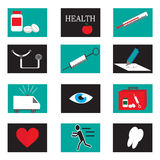 Medical and healthcare icons set. Medical and healthcare flat icons set Royalty Free Stock Images
