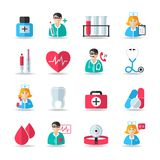 Medical healthcare icons set. Of heart tooth pill syringe isolated vector and doctor avatars illustration Royalty Free Stock Images