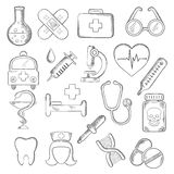 Medical and healthcare icons sketches Royalty Free Stock Photography