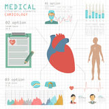 Medical and healthcare infographic, Cardiology infographics Royalty Free Stock Images