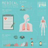 Medical and healthcare infographic, respiratory system infographics vector illustration