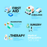 Medical healthcare infographic set with isometric. Flat icons, included first aid ambulance reanimation surgery and therapy concept, vector illustration Stock Photography