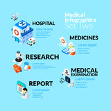 Medical healthcare infographic set with isometric Royalty Free Stock Photos