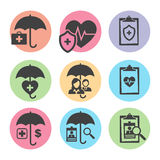 Medical Healthcare Insurance Icons. With People Figures and Heart Royalty Free Stock Image