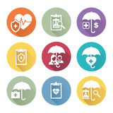 Medical Healthcare Insurance Icons. With People Figures and Heart Stock Photography
