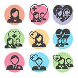 Medical Healthcare Insurance Icons. With People Figures and Heart, EKG, and Insured Symbols Stock Photos