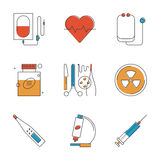 Medical and healthcare line icons set Stock Photography