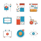 Medical and healthcare line icons set. Abstract icons of medical tools and healthcare equipment. Unusual flat design line icons set unique art vector Stock Photography